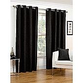 Hamilton McBride Faux Silk Lined Eyelet Black Curtains - 90x72 Inches (229x183cm)