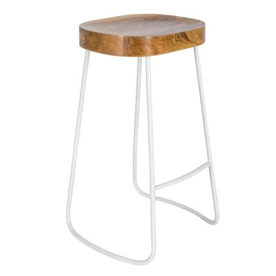 Homescapes Steel Frame Bar Stool with Solid Wood Seat Industrial Style, White, 76cm Tall