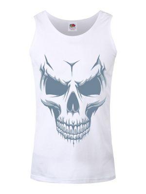 Men's Grinning Skull Vest White