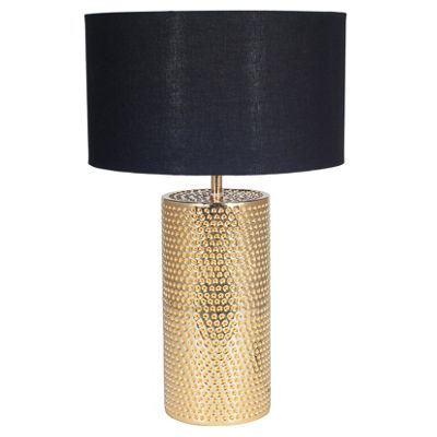 Gold Metal Table Lamp with Black Cylinder Shade