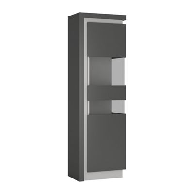 Lyon Tall narrow display cabinet (RHD) (including LED lighting) in Platinum/Light Grey Gloss