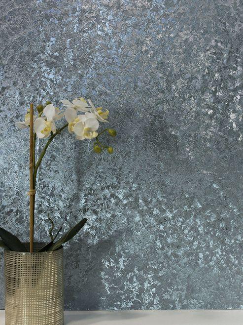 Crushed Velvet Foil Wallpaper Blue Arthouse 294303