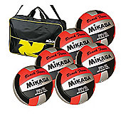 Mikasa 6 X VXS-01 Volleyballs and Bag