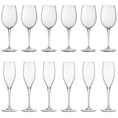 12x Bormioli Rocco Premium Glass Champagne Flutes & 385ml Wine Glasses