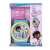Disney Doc McStuffins Pink & Turquoise Jumbo Wristwatch Wall Clock 92cm