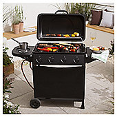 Tesco 4 Burner Gas BBQ with Side Burner, Black