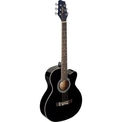 Stagg Auditorium Electro-Acoustic Guitar - Black - with 6 Months Free Online Lessons