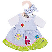 Bigjigs Toys Blue Spotted Rag Doll Dress for 34cm Soft Doll with Additional Matching Hair Accessories
