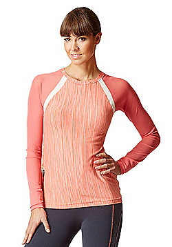 Raglan Mesh Long Sleeve Fitted Gym Top Coral Space-Cream - Coral