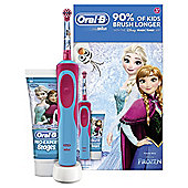 Oral-B Stages Power Kids Electric Toothbrush Featuring Frozen Characters Gift Pack with Toothpaste