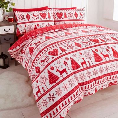 Noel, Christmas Themed King Size Bedding - Red