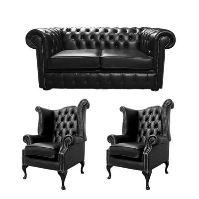 Chesterfield 2 Seater Sofa + 2 x Queen Anne Chairs Old English Black Leather Sofa