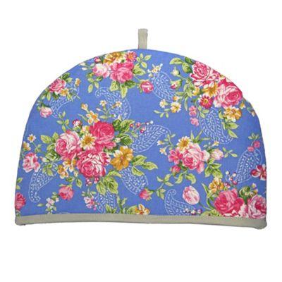Homescapes Tea Cosy Double Design Blue Roses Teapot Warmer