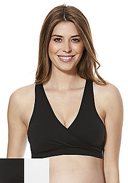 Mamalicious 2 Pack of Crossover Maternity Bras - Black