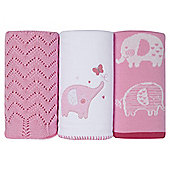 Silver Cloud Pink Blanket Set Elephant