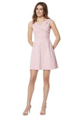 Vila Foldover V-Neck Dress Pink 16