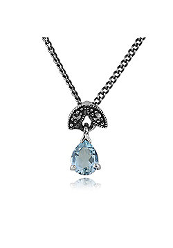 Gemondo Sterling Silver 0.23ct Aquamarine & Marcasite March 45cm Necklace