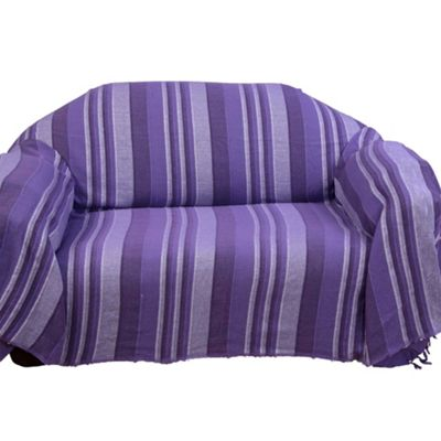 Homescapes Cotton Morocco Striped Mauve Throw, 150 x 200 cm