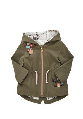 F&F Flower Embroidered Hooded Rain Mac Khaki 12-18 months