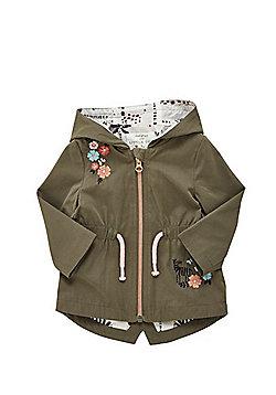 F&F Flower Embroidered Hooded Rain Mac - Khaki