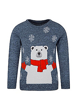 Mountain Warehouse Polar Bear Knitted Kids Jumper - Blue