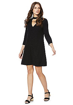F&F Glitter Stripe Choker Dress - Black