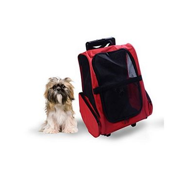 PawHut Pet Travel Backpack Bag Cat Puppy Dog Carrier W Trolley
