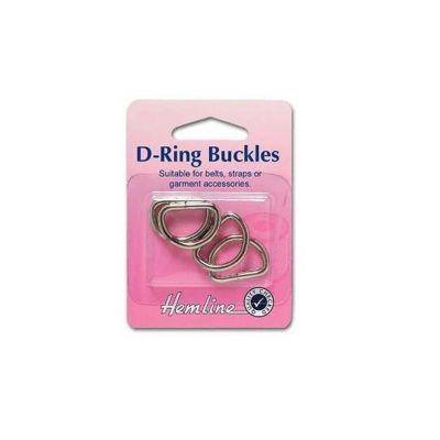 Hemline D Rings 25mm Nickel