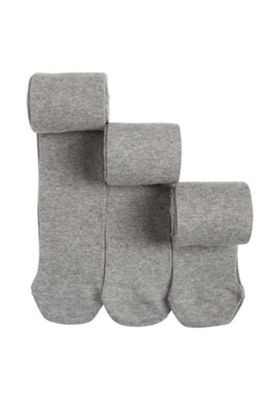 F&F 3 Pack of Super Soft Knitted Tights 5-6 years Grey