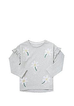 F&F Sequin Daisy Long Sleeve T-Shirt - Grey