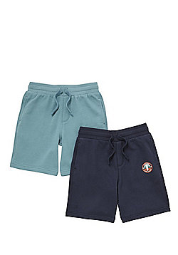 F&F 2 Pack of Drawstring Sweat Shorts with As New Technology - Navy/Green