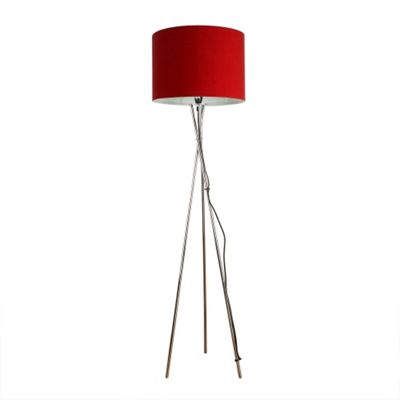 Camden Tripod Floor Lamp, Chrome & Red Rolla Shade