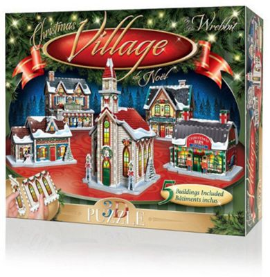 Christmas Village - 5 3D Buildings Puzzle