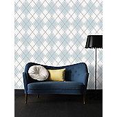Superfresco Argyle Geometric Skye Blue Wallpaper
