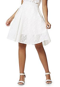 Cutie London Lace Mesh A-Line Skirt - White