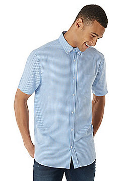 F&F Soft Touch Checked Short Sleeve Shirt - Blue