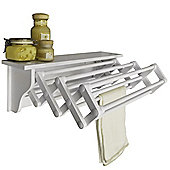 Rundle - Wall Mounted Folding Extending Towel / Clothes Rail Airer With Shelf - White