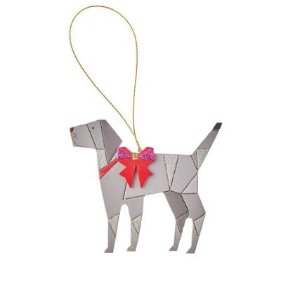Wooden Dog Christmas Tree Decoration - Grey