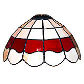 Tiffany Style Glass Ceiling Pendant Light Shade, Cream & Red