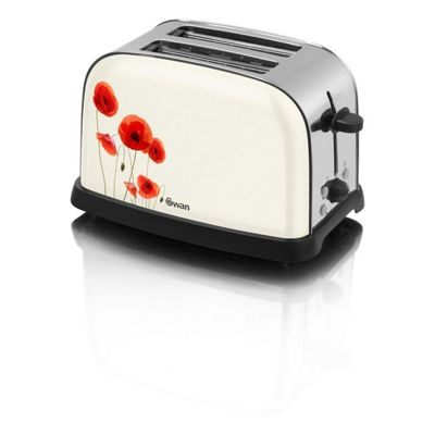 Swan-ST16020POPN 2 Slice Toaster with Variable Browning Control and Finished in a Poppy Design