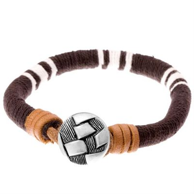 Urban Male Parksville Brown and White Cord and Leather Beach Look Men's Bracelet