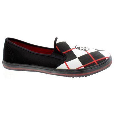 Draven Misfits Fiend Argyle Slip on Black/Red Shoe