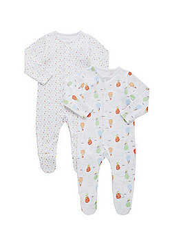 F&F 2 Pack of Printed Sleepsuits - White & Multi