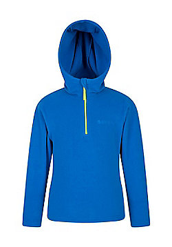 Mountain Warehouse Camber Kids Microfleece Hoodie Boys Girls Hooded Top Childs - Blue
