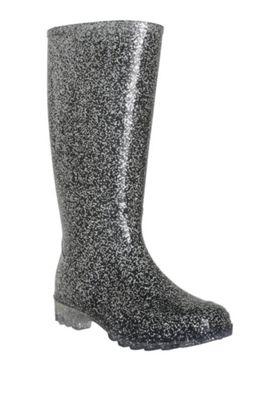 F&F Glitter Wellies Silver Adult 3