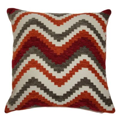 McAlister Soft Chenille Cushion - Red and Orange Chevron Design