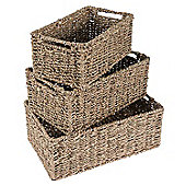 Homescapes Set of 3 Rectangular Seagrass Wicker Storage Baskets
