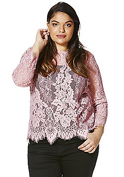 Simply Be Lace Top - Dusty pink