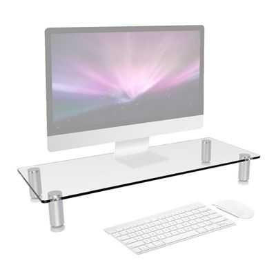 Duronic DM052-1 Clear Glass Stand Riser for PC Computer Monitor / Laptop and TV