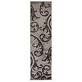 Hand Carved Elude Grey & Black Runner 60x230cm